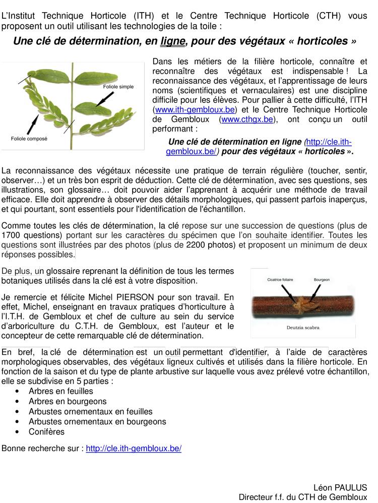 clé de détermination végétaux  horticoles