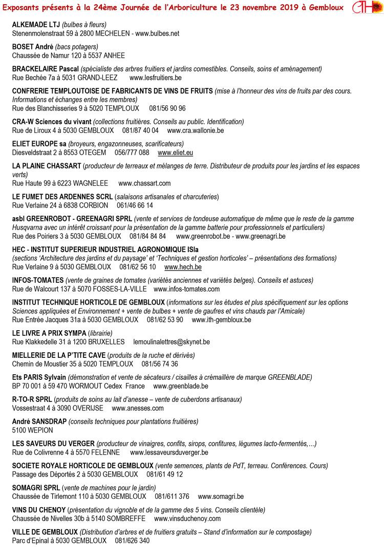exposants journee arboriculture gembloux 23 novembre 2019 au cth a gembloux